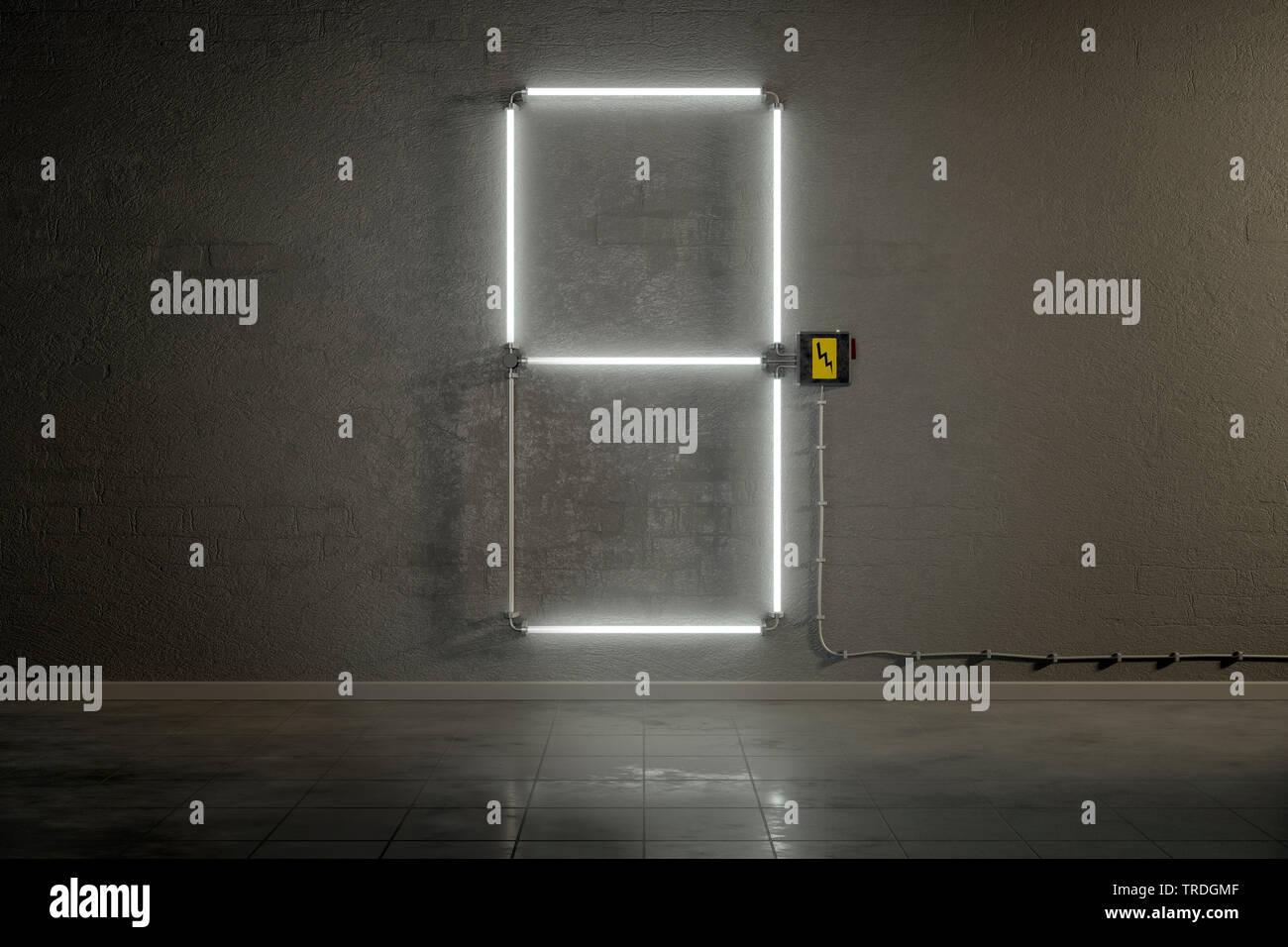 3D-Computergrafik, Einstellige Zaehler-Anzeige aus Neonlampen die Zahl 9 darstellend    3D computer graphic, one-digit counter built out of neon tubes - Stock Image