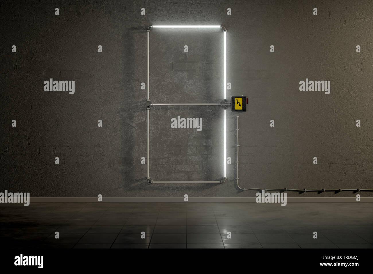 3D-Computergrafik, Einstellige Zaehler-Anzeige aus Neonlampen die Zahl 7 darstellend    3D computer graphic, one-digit counter built out of neon tubes - Stock Image