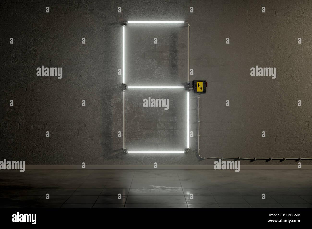 3D-Computergrafik, Einstellige Zaehler-Anzeige aus Neonlampen die Zahl 5 darstellend    3D computer graphic, one-digit counter built out of neon tubes - Stock Image