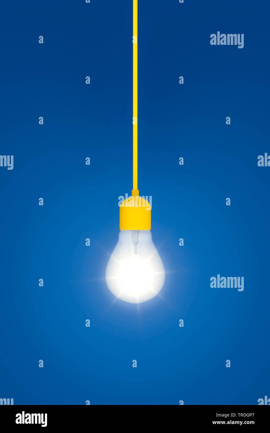 3D-Computergrafik, brennende Gluehbirne an einem gelben Kabel vor blauem Hintergrund   3D computer graphic, burning ligh bulb hanging on a yellow powe - Stock Image