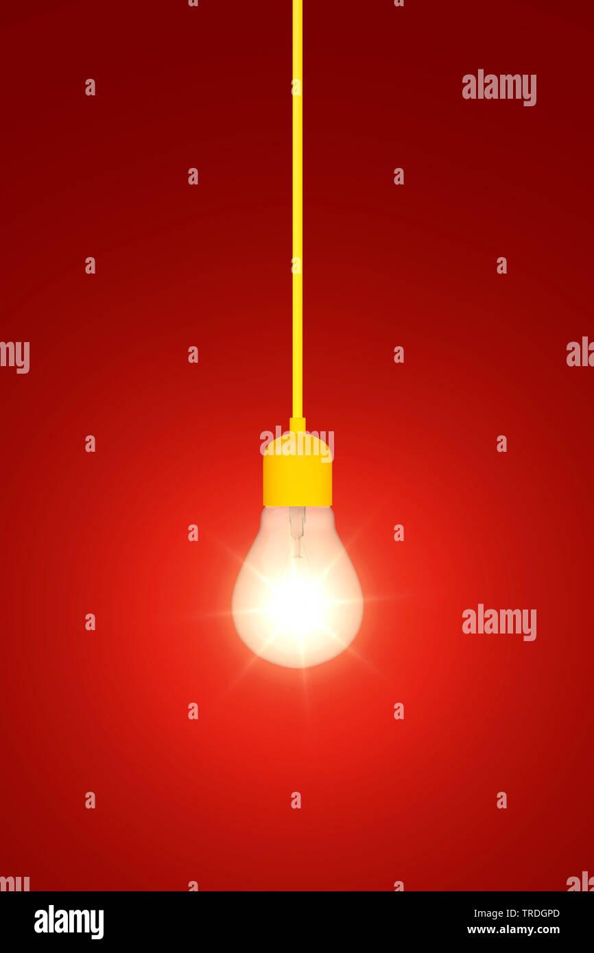 3D-Computergrafik, brennende Gluehbirne an einem gelben Kabel vor rotem Hintergrund   3D computer graphic, burning ligh bulb with yellow power cable a - Stock Image