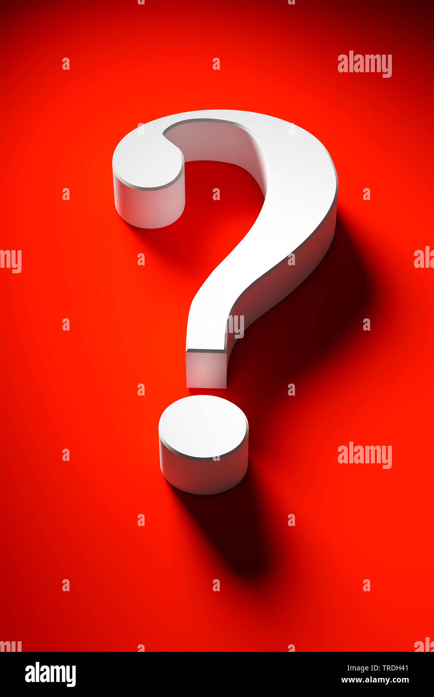 white question mark against red background - Stock Image
