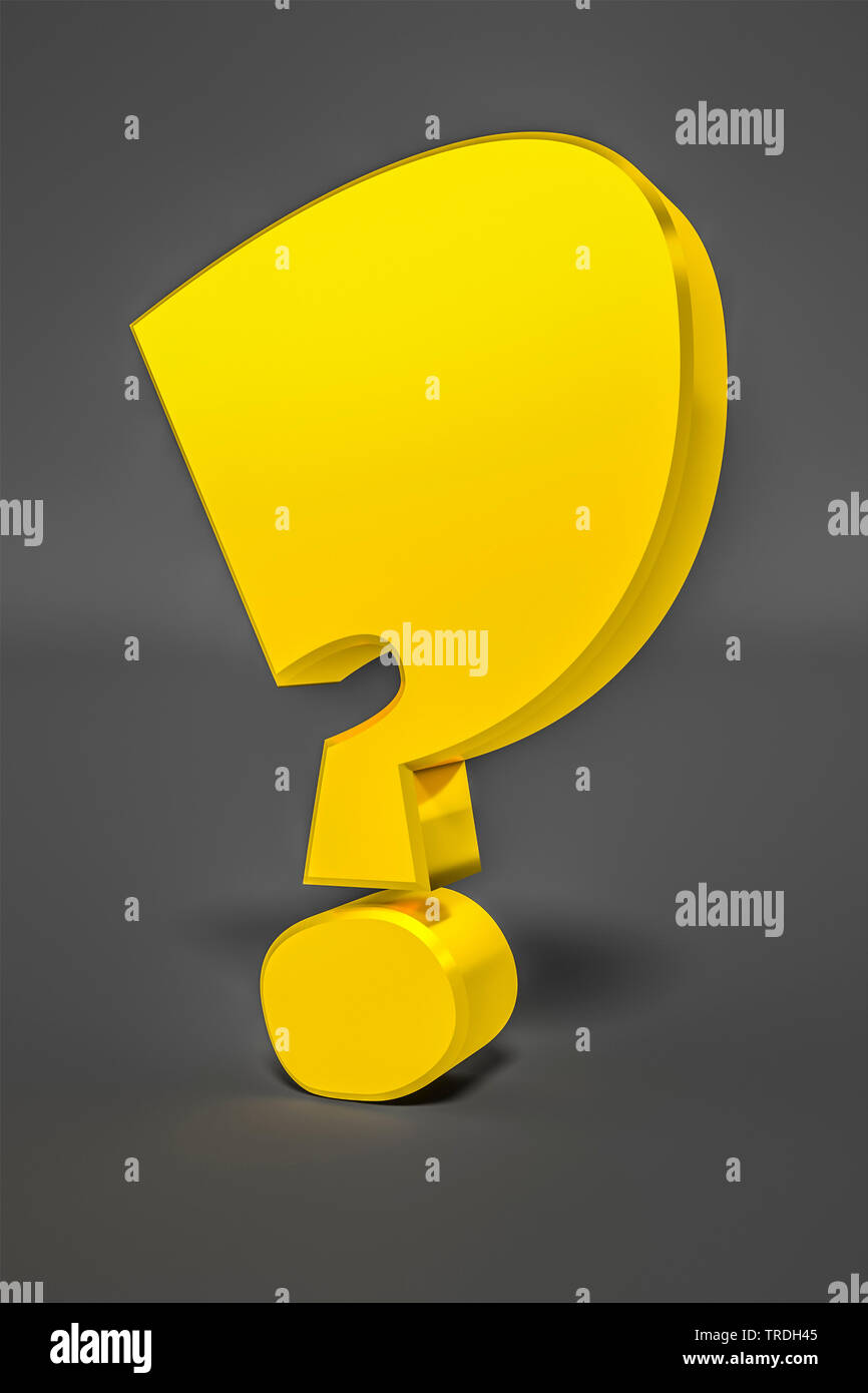 yellow question mark agaiunst grey background - Stock Image