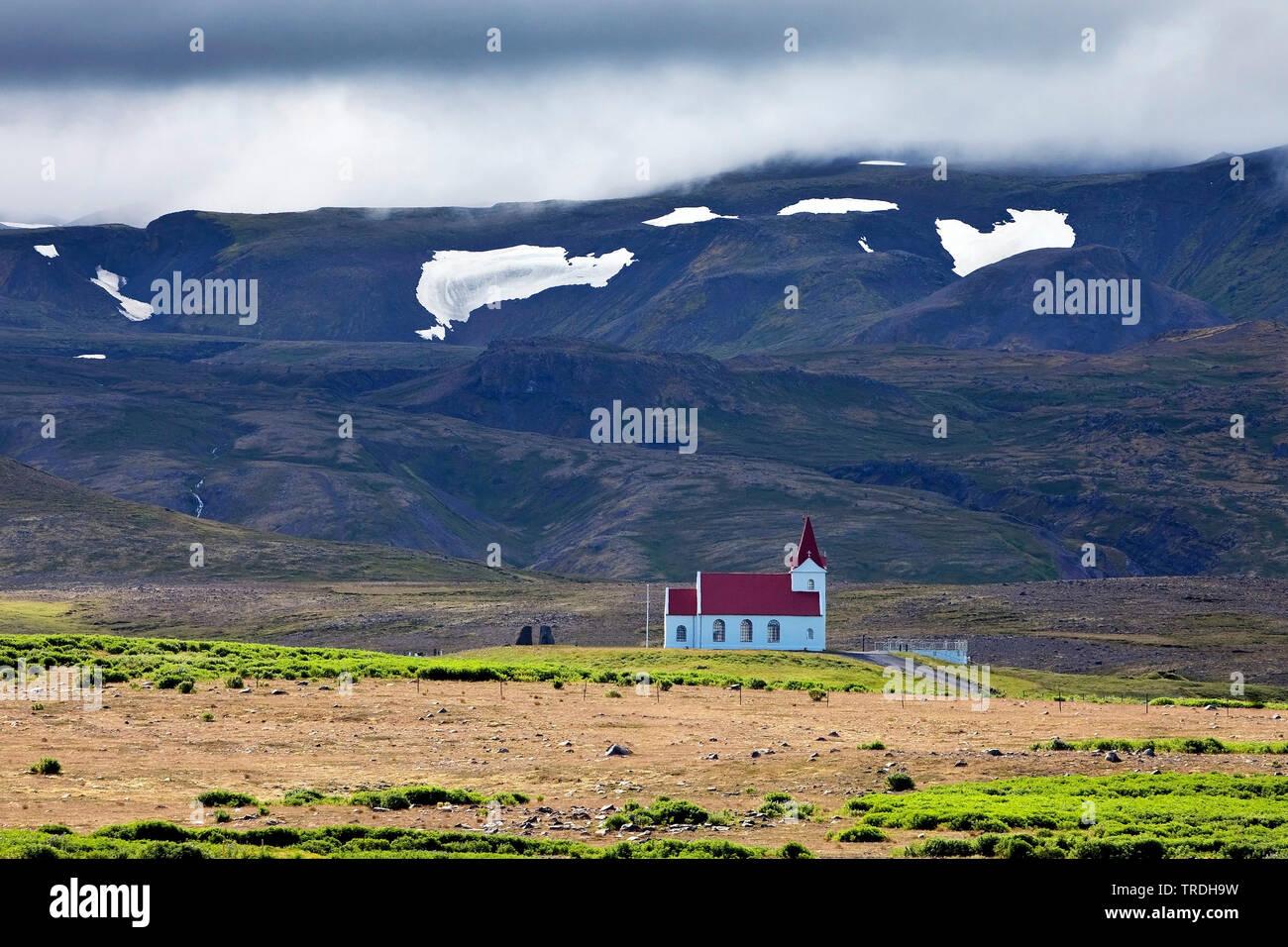 Pfarrkirche Ingjaldsholl, Island, Snaefellsnes, Hellissandur | Ingjaldsholl Church, Iceland, Snaefellsnes, Hellissandur | BLWS503933.jpg [ (c) blickwi - Stock Image