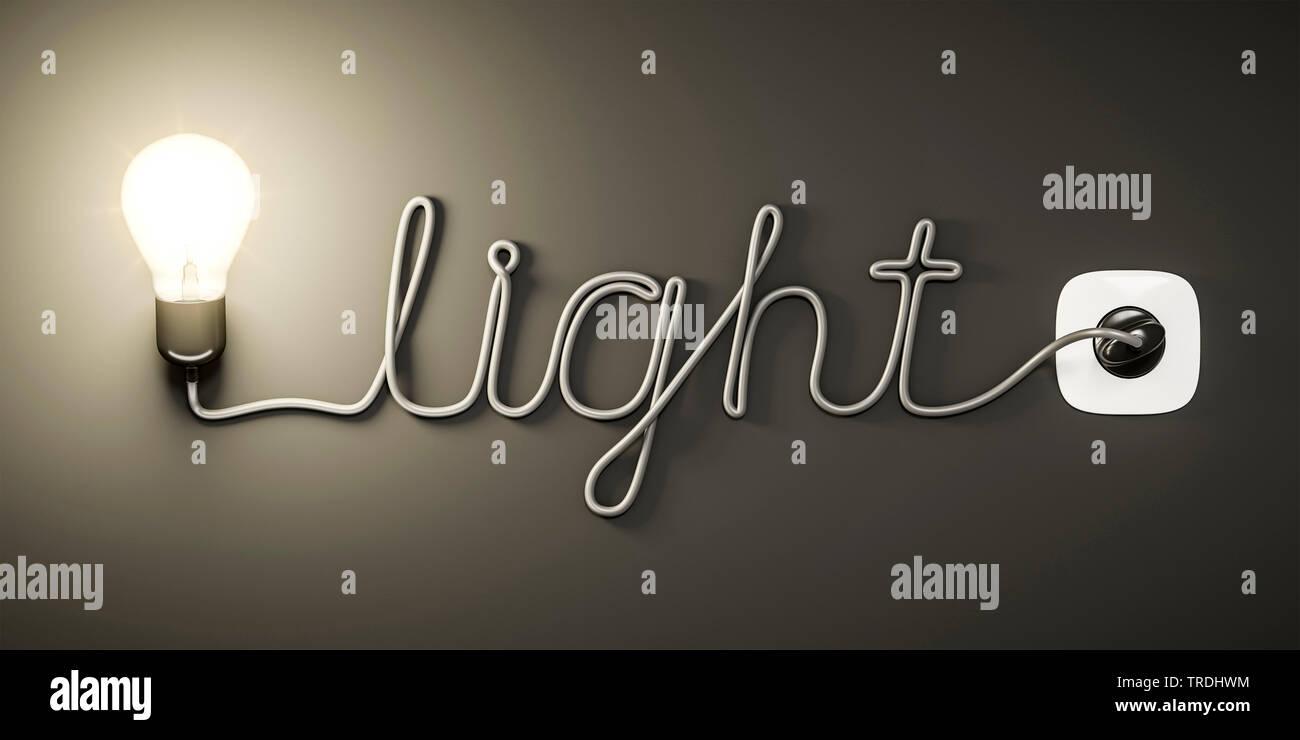 3D-Computergrafik, Wort LIGHT (Licht) geformt aus dem Stromkabel einer leuchtenden Gluehlampe   3D computer graphic, word LIGHT shaped out of the powe - Stock Image