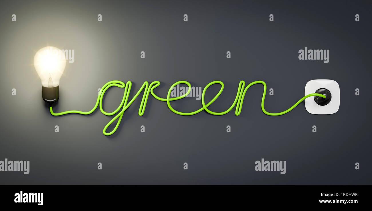 3D-Computergrafik, Wort GREEN (Gruen) geformt aus dem Stromkabel einer leuchtenden Gluehlampe   3D computer graphic, word GREEN shaped out of the powe - Stock Image