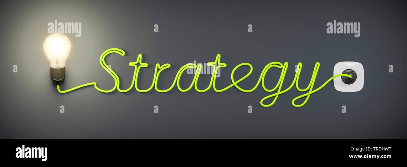3D-Computergrafik, Wort STRATEGY (Strategie) geformt aus dem Stromkabel einer leuchtenden Gluehlampe   3D computer graphic, word STRATEGY shaped out o - Stock Image