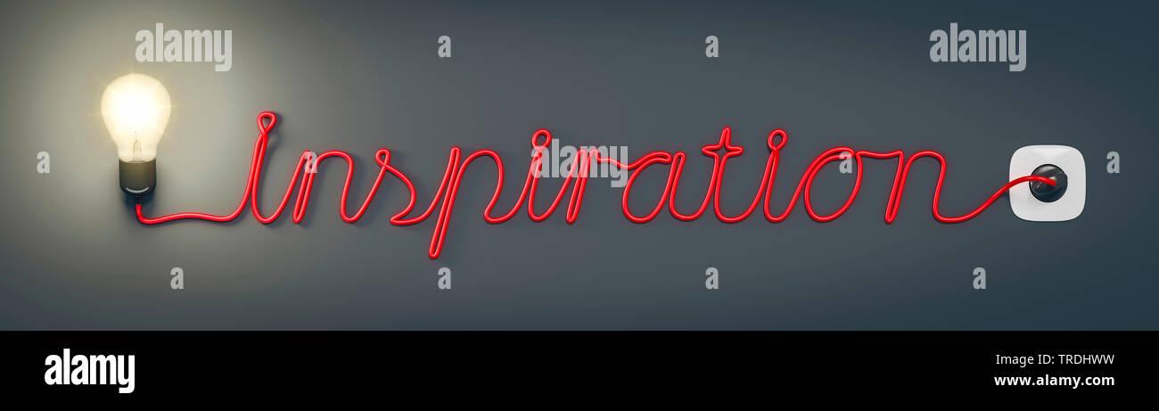 3D-Computergrafik, Wort INSPIRATION geformt aus dem Stromkabel einer leuchtenden Gluehlampe   3D computer graphic, word INSPIRATION shaped out of the - Stock Image