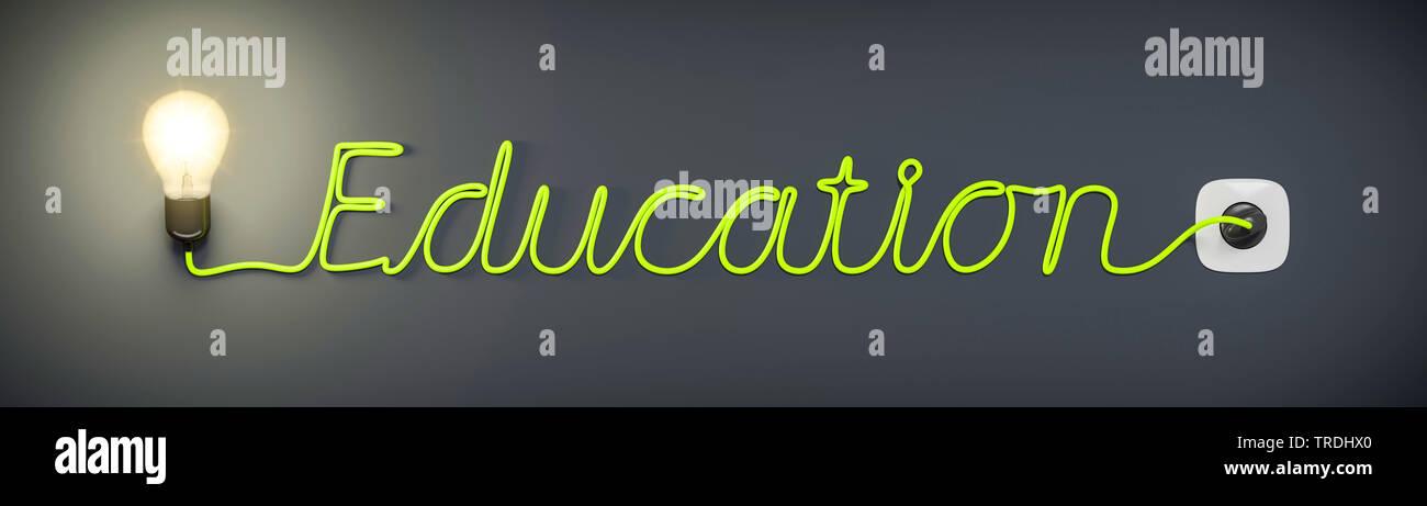 3D-Computergrafik, Wort EDUCATION (Bildung) geformt aus dem Stromkabel einer leuchtenden Gluehlampe   3D computer graphic, word EDUCTAION shaped out o - Stock Image