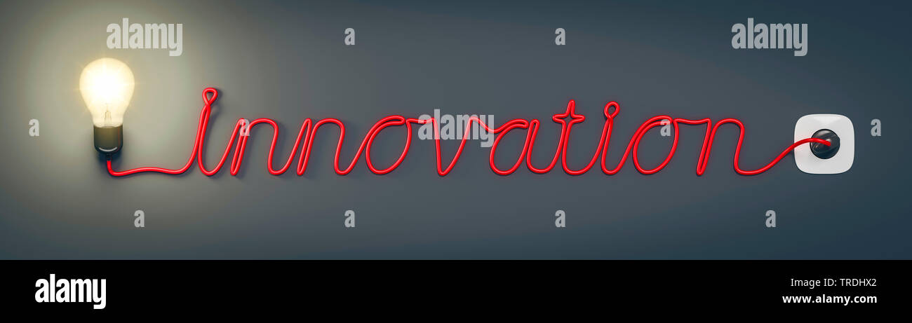3D-Computergrafik, Wort INNOVATION geformt aus dem Stromkabel einer leuchtenden Gluehlampe   3D computer graphic, word INNOVATION shaped out of the po - Stock Image