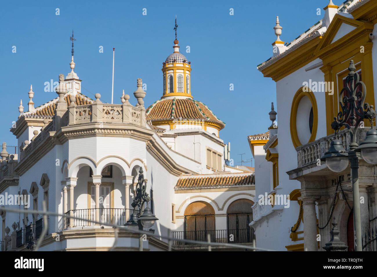 Seville Plaza de Toros de la Real Maestranza de Caballeria de Seville Bullring Spain,Seville - Stock Image