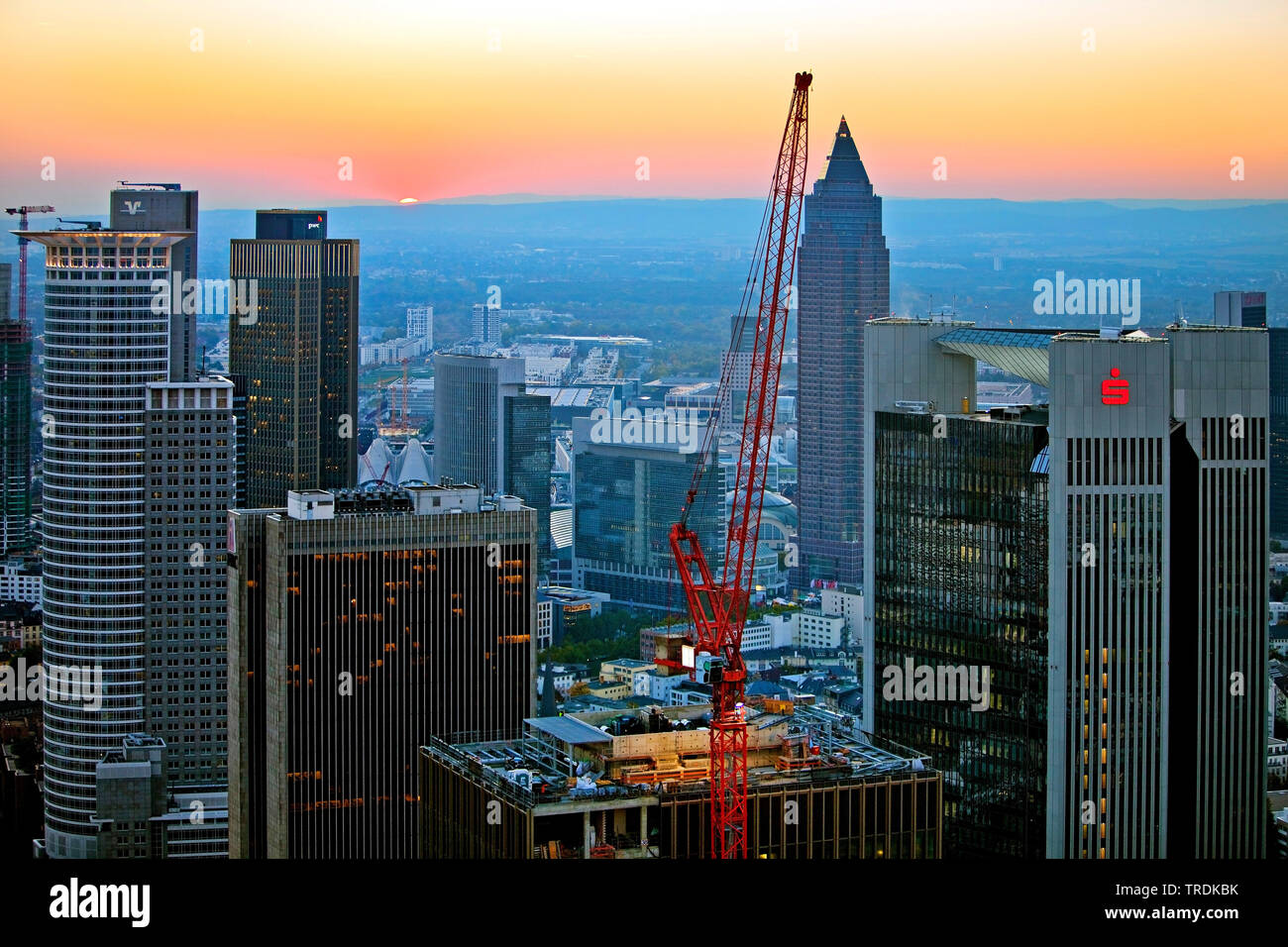 view from Main Tower to construction site in the financial district in the evening, Germany, Hesse, Frankfurt am Main Stock Photo