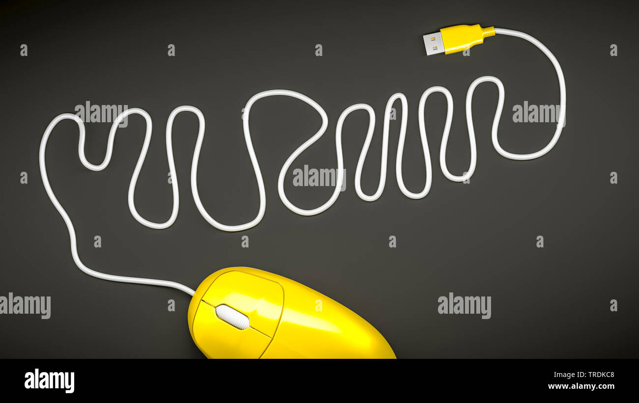 3D computer graphic, computer mouse in yellow color with the cable laying on a wiggly line - Stock Image