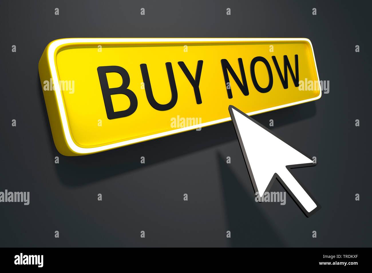 3D-Computergrafik, dreidimensionales Schild in blauer Farbe mit Aufschrift BUY NOW (Jetzt kaufen) | 3D computer graphic, three-dimensional sign in blu - Stock Image