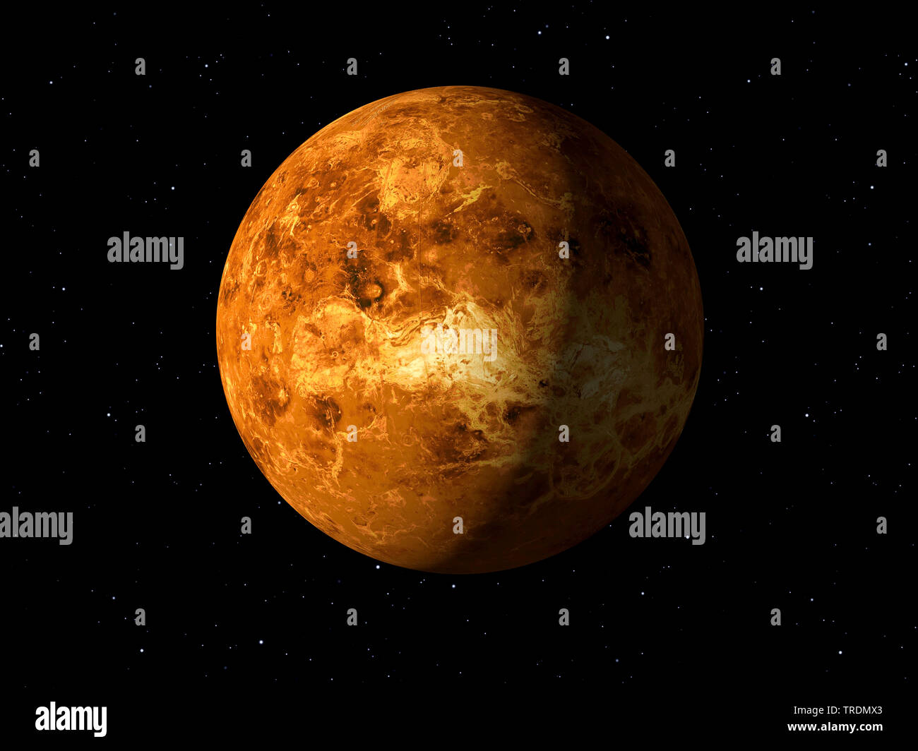 3d rendering of the planet Venus done with NASA textures - Stock Image