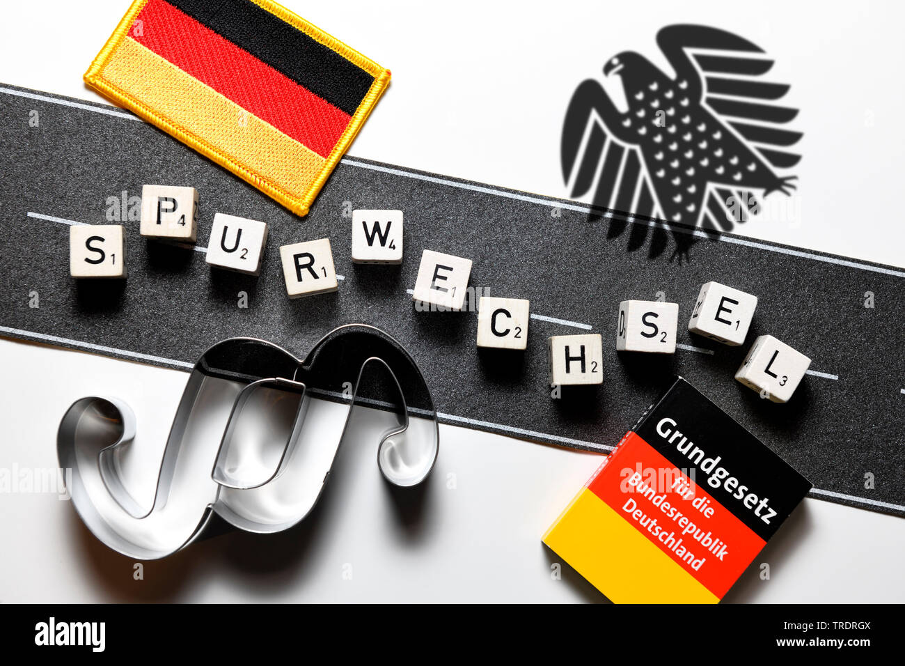 das Wort Spurwechsel gelegt mit Wuerfel, Asylpolitik, Deutschland | lane change, Spurwechsel, asyl, Germany | BLWS509470.jpg [ (c) blickwinkel/McPHOTO - Stock Image