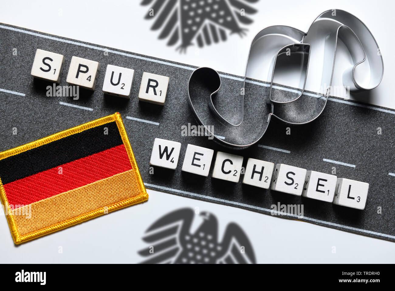 das Wort Spurwechsel gelegt mit Wuerfel, Asylpolitik, Deutschland | lane change, Spurwechsel, asyl, Germany | BLWS509472.jpg [ (c) blickwinkel/McPHOTO - Stock Image