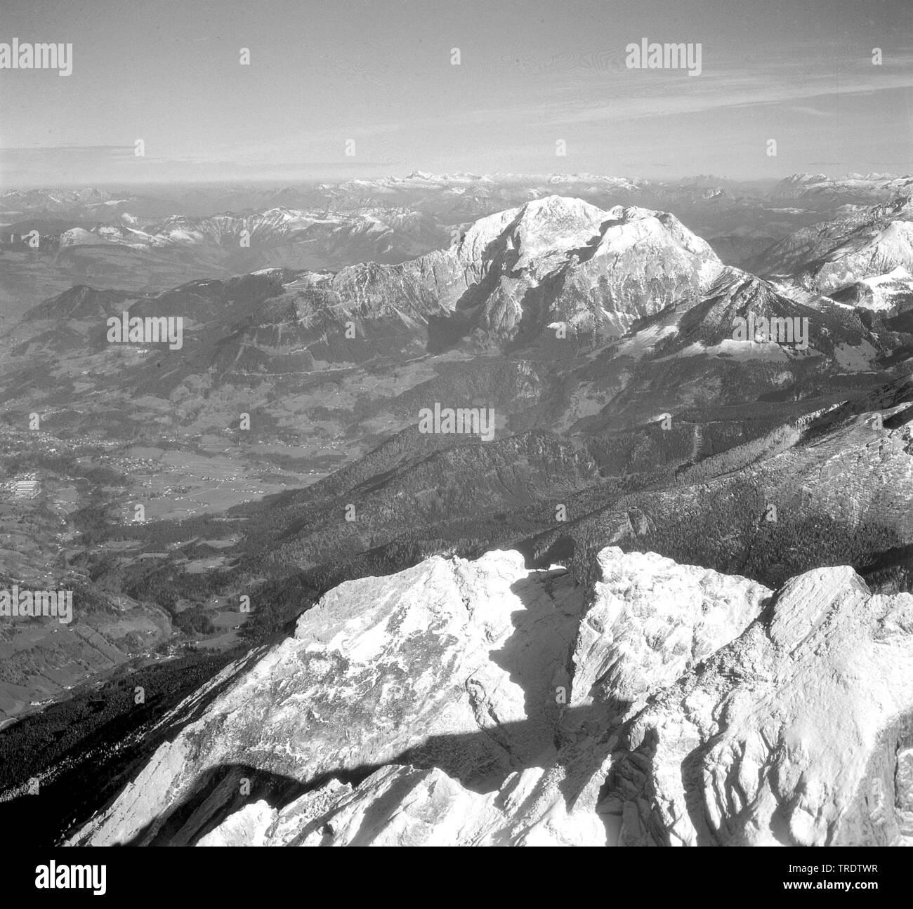 Obersalzberg, aerial photo, taking between 1958 and 1963, Germany, Bavaria, Oberbayern, Upper Bavaria - Stock Image