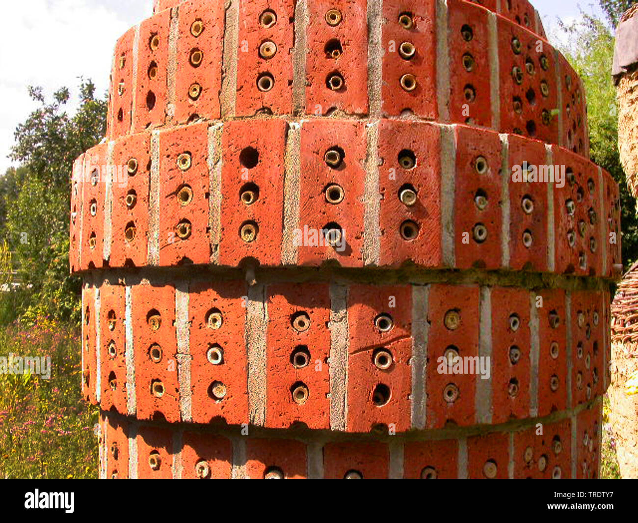 insect hotel as artwork, Germany Stock Photo