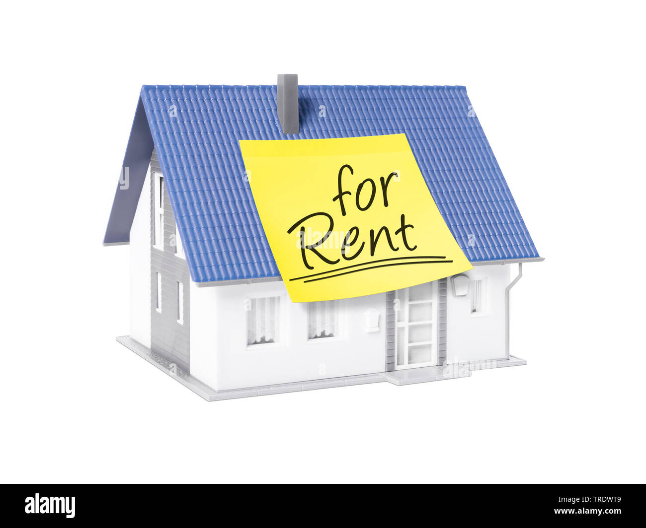 3D-Computergrafik, Alleinstehendes Einfamilienhaus mit gelbem Klebezettel mit der Aufschrift FOR RENT (zu vermieten) | 3D computer graphic, freestandi - Stock Image