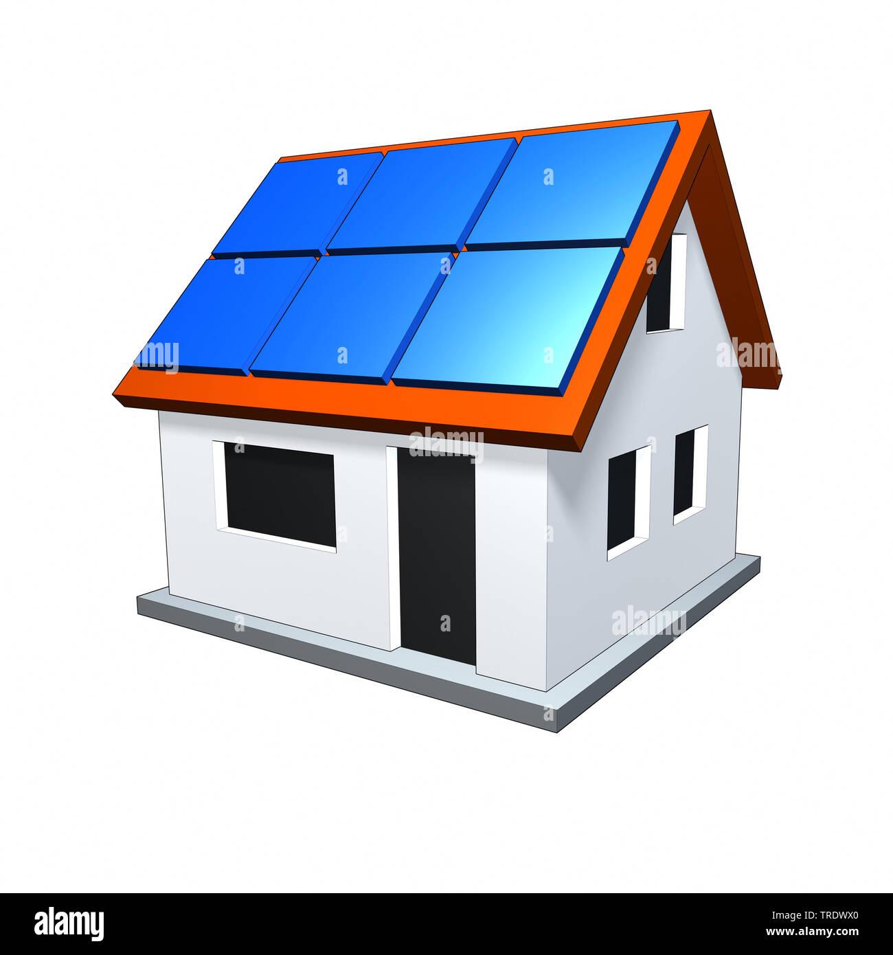 3D-Computergrafik, Alleinstehendes Einfamilienhaus mit Solarzellen auf dem Dach | 3D computer graphic, freestanding single house with solar panels on - Stock Image