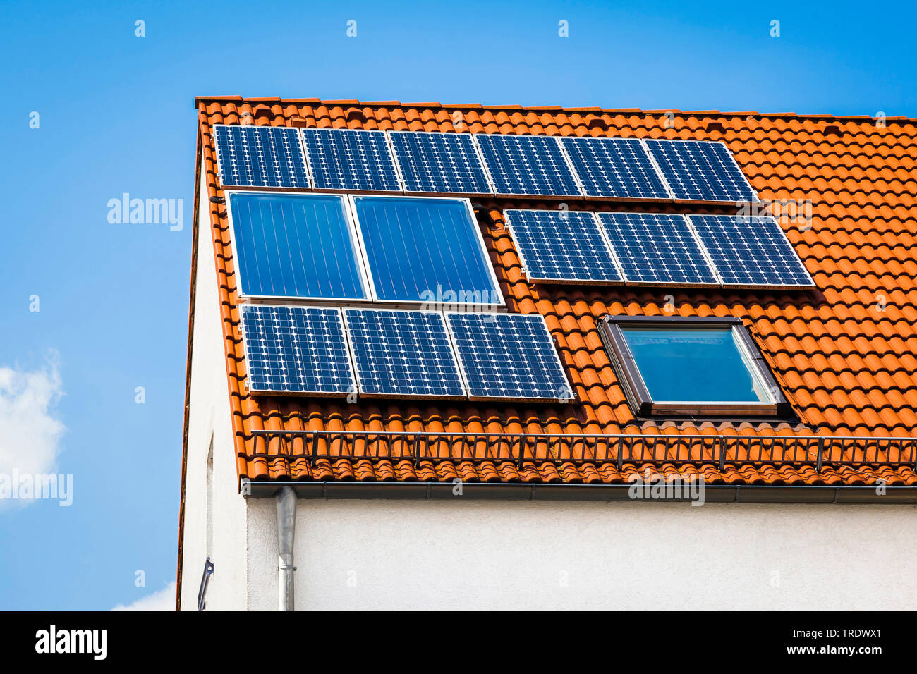 Detailaufnahme eines Hausdachs mit Solarzellen  | Detail of residental house roof with solar panels | BLWS511241.jpg [ (c) blickwinkel/McPHOTO/M. Gann - Stock Image
