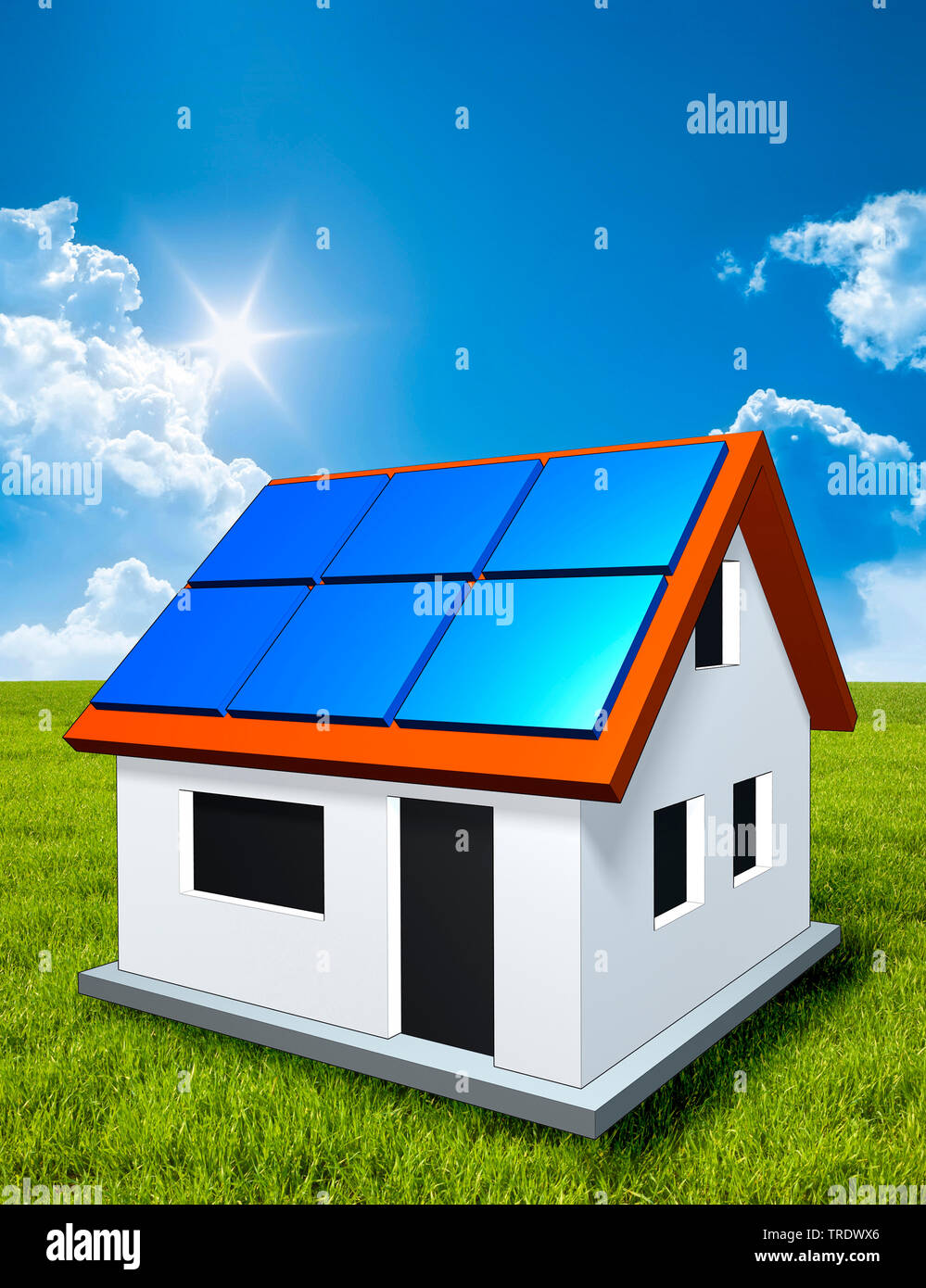 3D-Computergrafik, Alleinstehendes Einfamilienhaus mit Solarzellen auf dem Dach vor Wolkenhimmel | 3D computer graphic, freestanding single house with - Stock Image