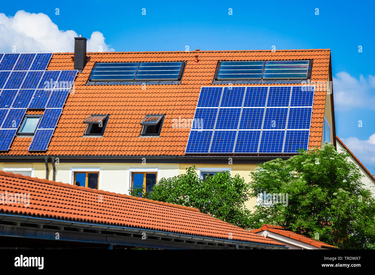 Detailaufnahme eines Hausdachs mit Solarzellen  | Detail of residental house roof with solar panels | BLWS511242.jpg [ (c) blickwinkel/McPHOTO/M. Gann - Stock Image