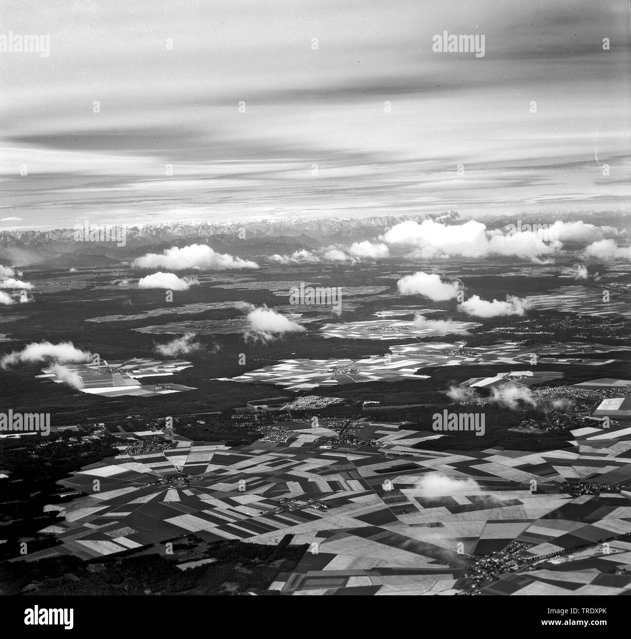 field at Putzbrunn near Munich, aerial photo from the year 1961, Germany, Bavaria, Putzbrunn - Stock Image