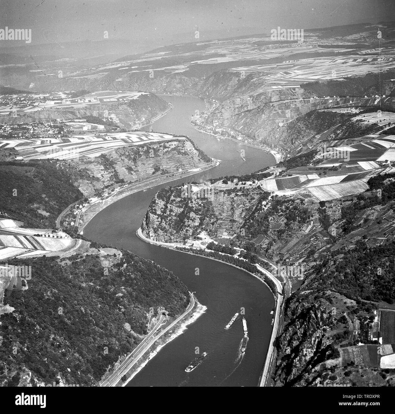 rock Loreley at river Rhine, aerial photo from 29.08.1961, Germany, Rhineland-Palatinate, Sankt Goarshausen Stock Photo