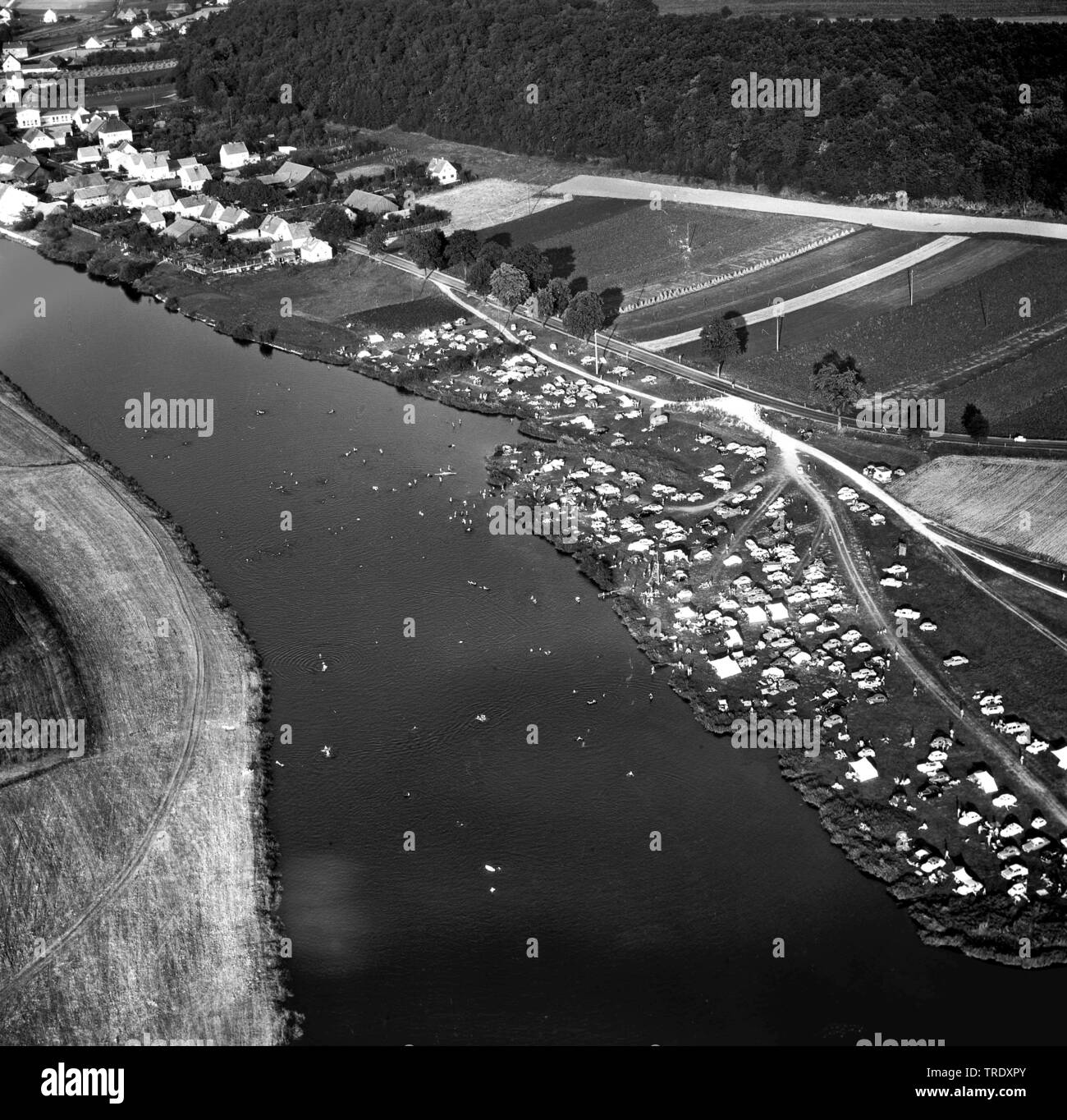 persons bathing in river Regen North of Regensburg, aerial photo from 02.09.1961, Germany, Bavaria, Ratisbon Stock Photo