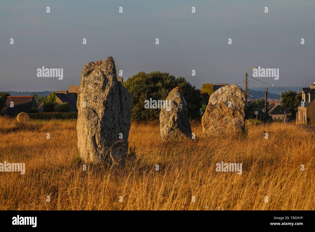 alignment of Lagatjar near Camaret-sur-Mer, France, Brittany - Stock Image