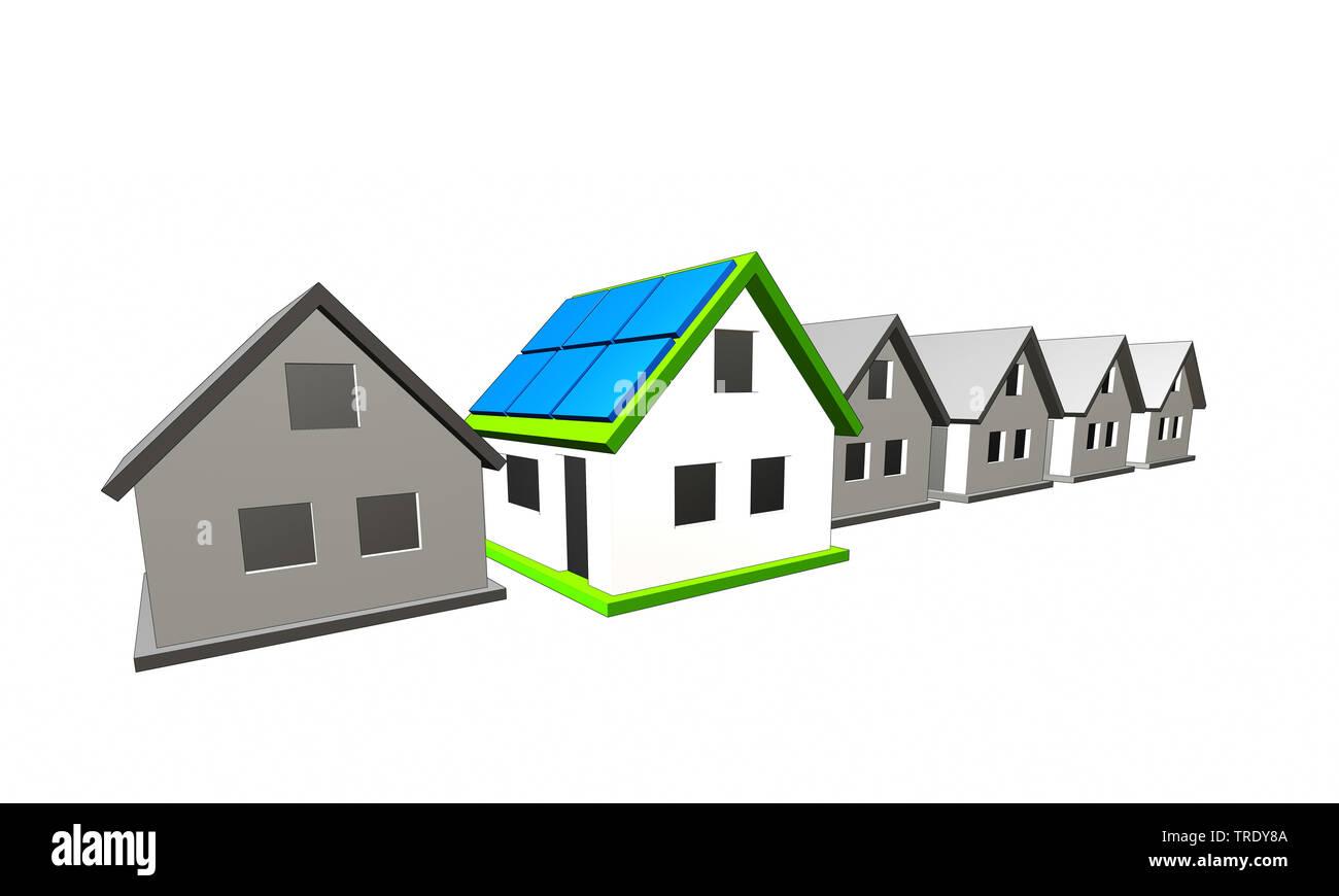3D-Computergrafik, Symbolbild mehrerer Wohnhaeuser vor weissem Hintergrund | 3D computer graphic, row of residental houses against white background | - Stock Image