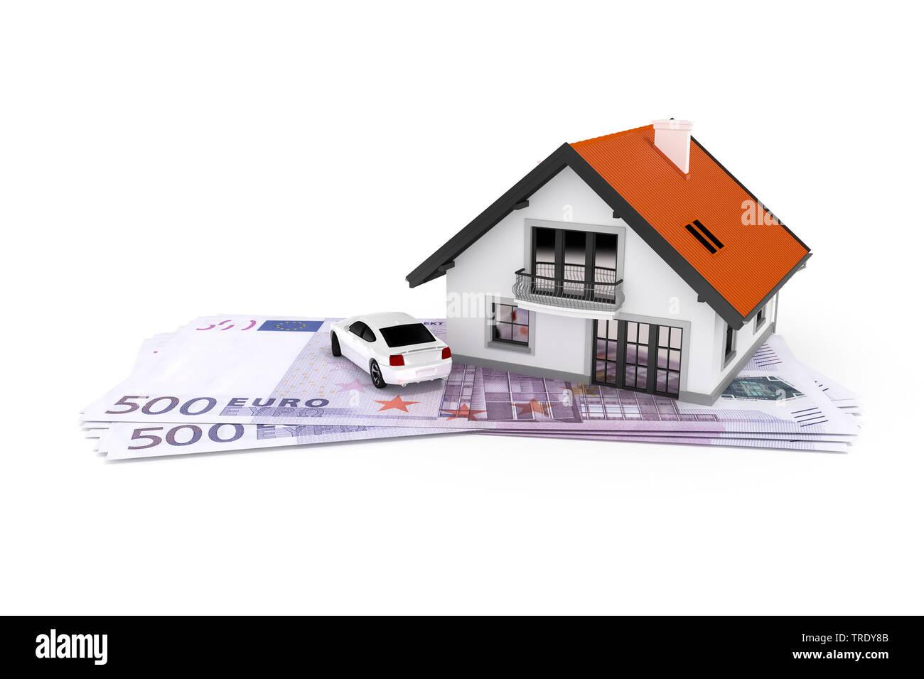 3D-Computergrafik, Symbolbild eines Wohnhauses auf Banknoten stehend | 3D computer graphic, residental house standing on top of banknotes | BLWS512395 - Stock Image