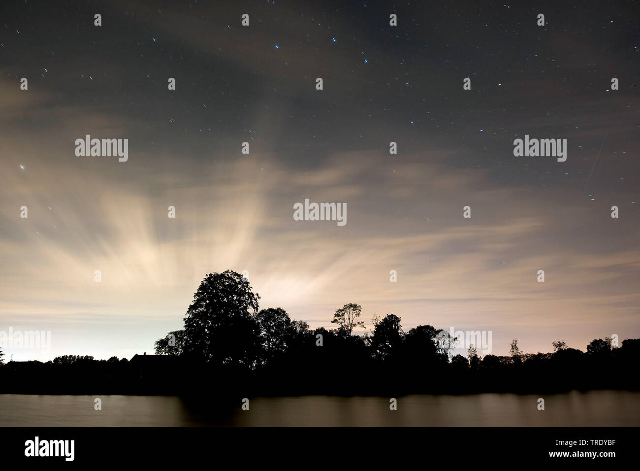 Sternenhimmel mit Perseiden und Schleierwolken, Niederlande, Overijssel, Twentekanaal Goor, Goor | starry night with perseids and cirrus clouds, Nethe - Stock Image