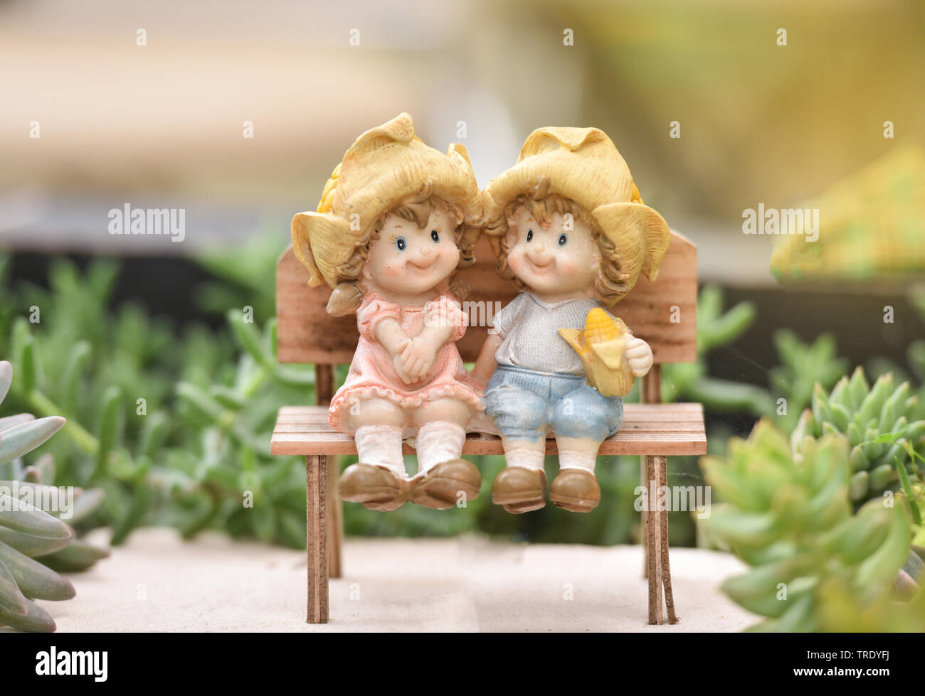 Miraculous Little Couple Doll Cute Sitting On Wooden Bench Decorate The Caraccident5 Cool Chair Designs And Ideas Caraccident5Info