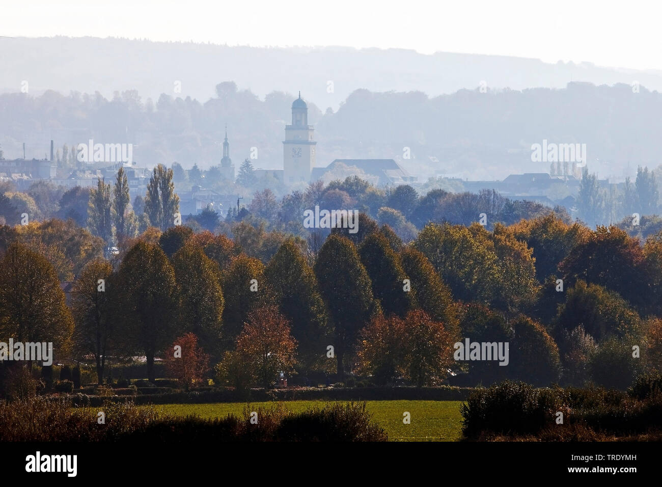 view of the town with town hall and steeple of Johannis Church in autumn, Germany, North Rhine-Westphalia, Ruhr Area, Witten Stock Photo