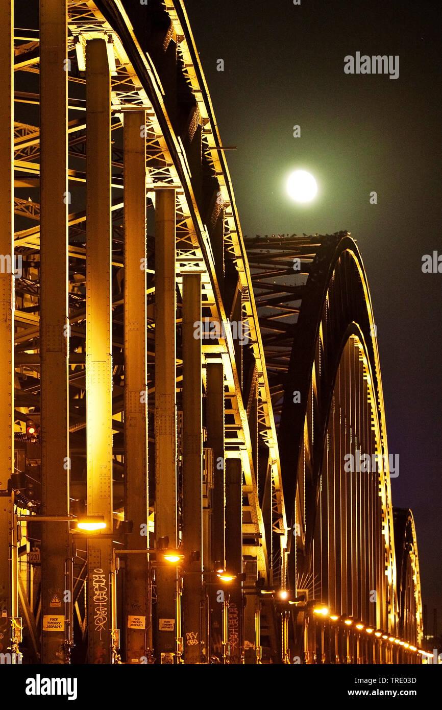 Hohenzollernbruecke bei Vollmond, Deutschland, Nordrhein-Westfalen, Rheinland, Koeln   Hohenzollern Bridge at full moon, Germany, North Rhine-Westphal - Stock Image
