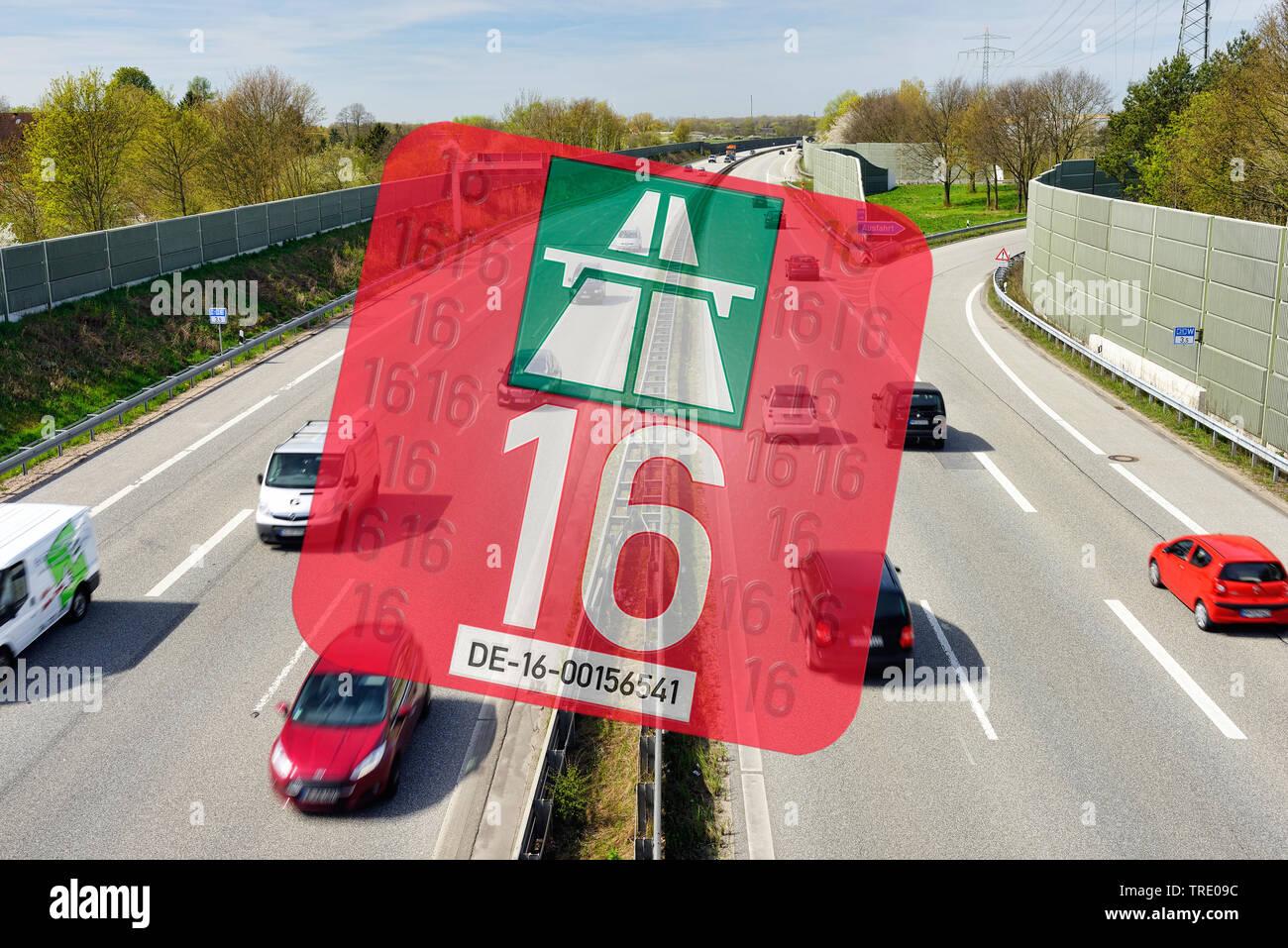 Autobahn mit PKW-Mautgebuehr, Jahresvignette 2016 im Vordergrund, Deutschland | Highway with road tax vignette for 2016 in the foreground, Germany | B - Stock Image