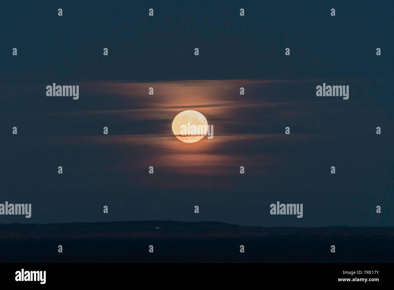 Vollmond ueber schwedischer Westkueste, Schweden, Skagerrak   full moon over swedish westcoast, Sweden, Skagerrak   BLWS514287.jpg [ (c) blickwinkel/H - Stock Image