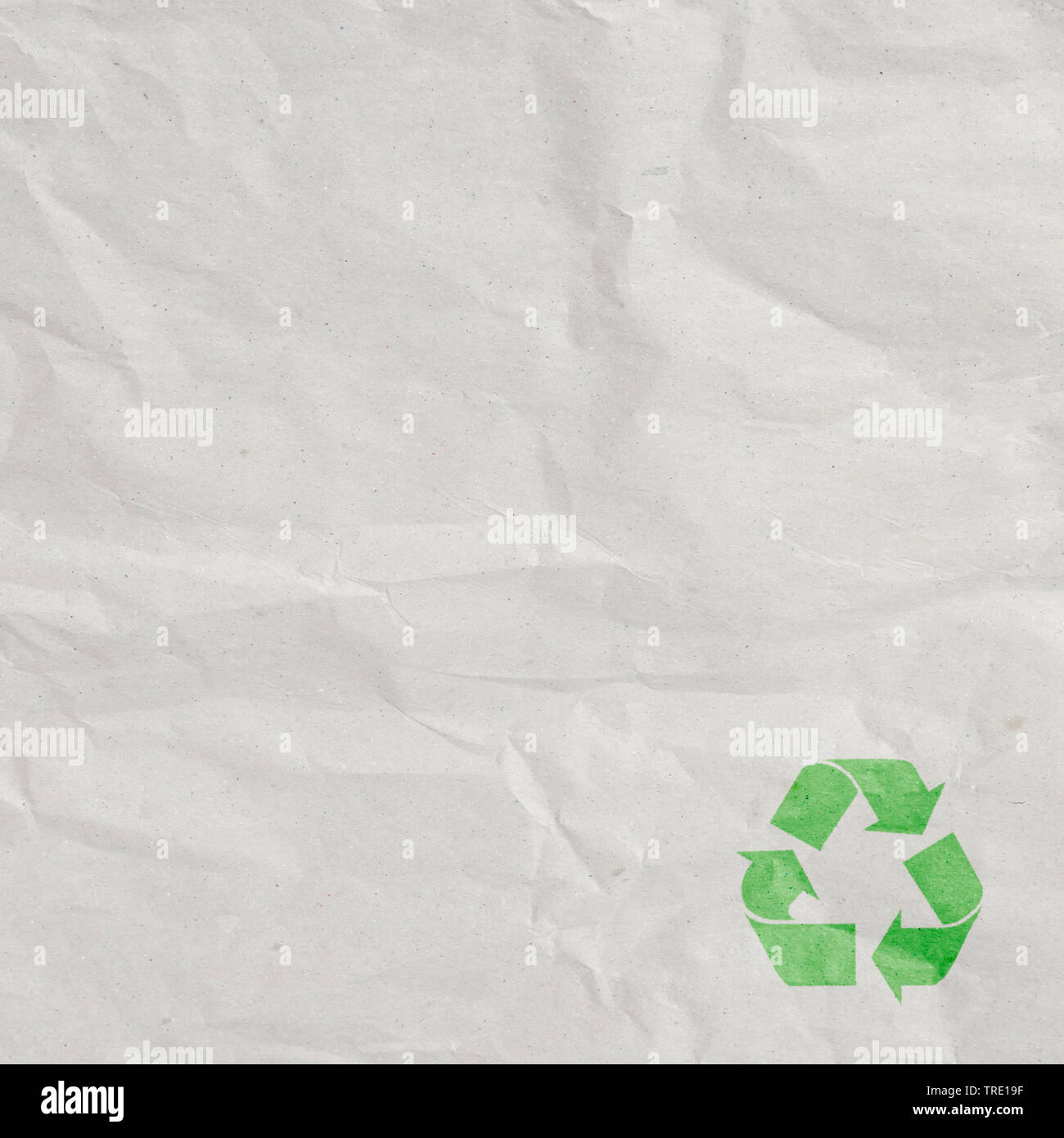 gebrauchtes Packpapier mit Recycling-Symbol | packing paper with recycling symbol | BLWS514341.jpg [ (c) blickwinkel/McPHOTO/M. Gann Tel. +49 (0)2302- - Stock Image