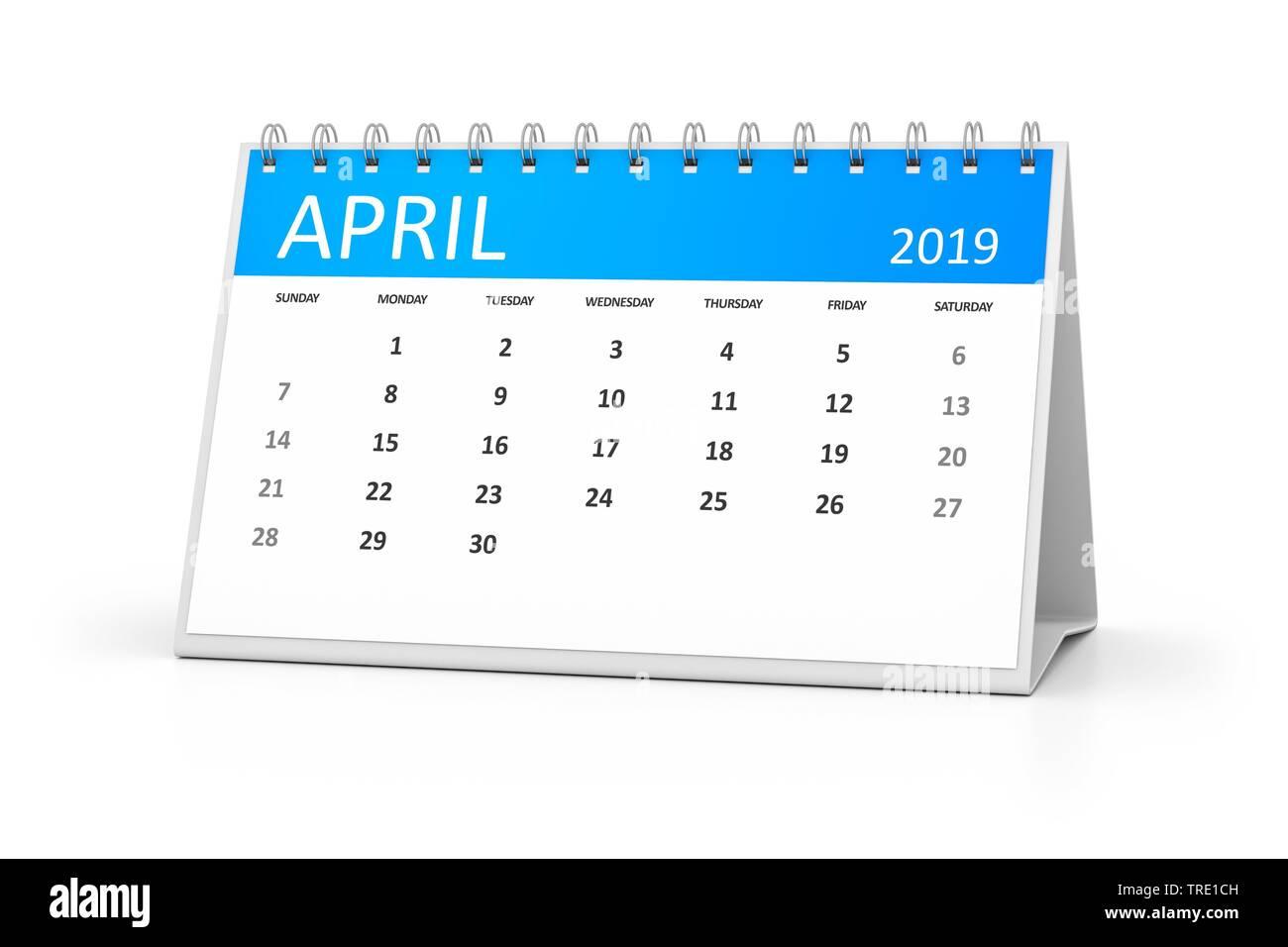 Kalenderblatt fuer den April 2019, Deutschland | a table calendar for your events 2019 april 3d illustration, Germany | BLWS514563.jpg [ (c) blickwink - Stock Image