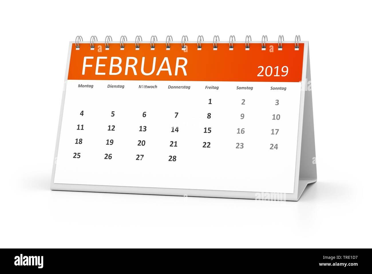 Kalenderblatt fuer den Februar 2019 | a table calendar for your events 2019 Februar 3d illustration, february | BLWS514578.jpg [ (c) blickwinkel/McPHO - Stock Image