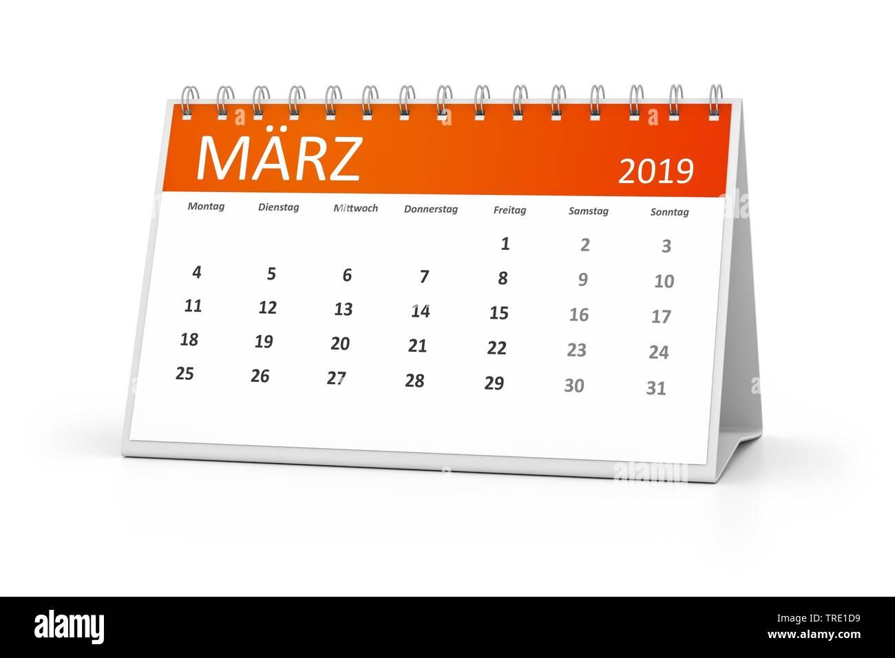 Kalenderblatt fuer den Maerz 2019 | a table calendar for your events 2019 march 3d illustration | BLWS514582.jpg [ (c) blickwinkel/McPHOTO/M. Gann Tel - Stock Image
