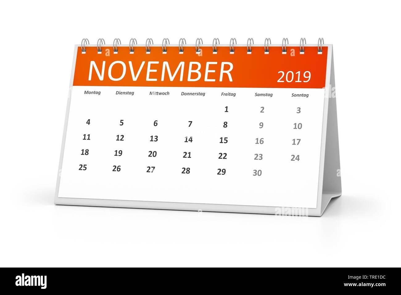 Kalenderblatt fuer den November 2019 | a table calendar for your events 2019 November 3d illustration | BLWS514584.jpg [ (c) blickwinkel/McPHOTO/M. Ga - Stock Image