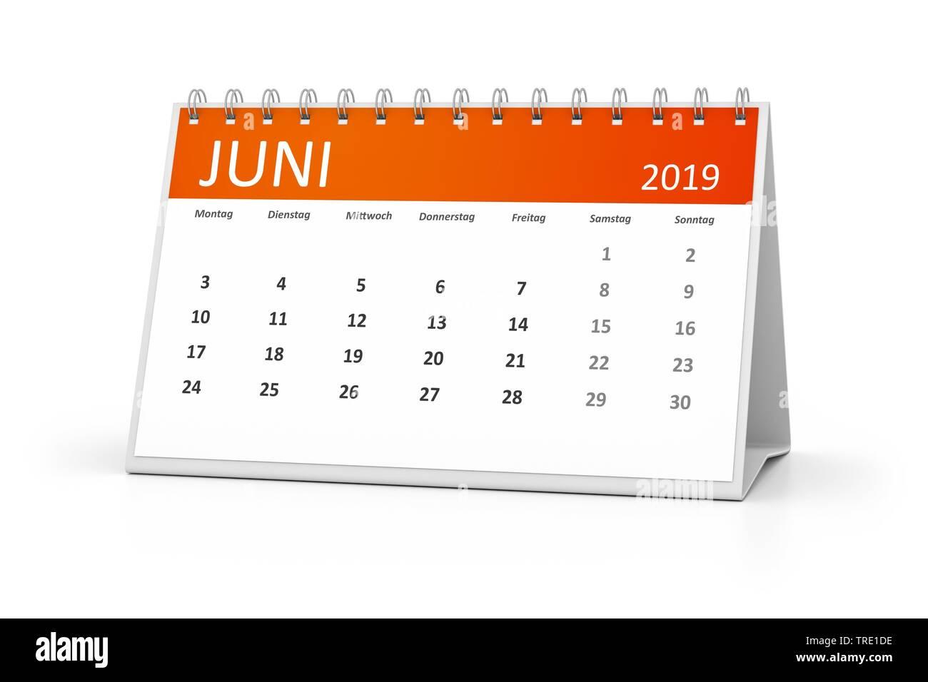Kalenderblatt fuer den Juni 2019 | a table calendar for your events 2019 Juni 3d illustration, june | BLWS514581.jpg [ (c) blickwinkel/McPHOTO/M. Gann - Stock Image