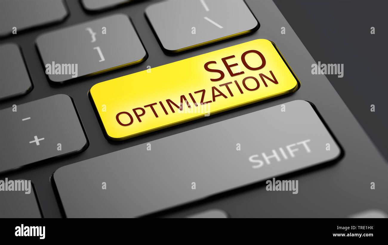 Laptop-Tastatur mit einer gelb hervorgehobenen Sondertaste SEO Optimization | white keyborad with the yellow button SEO Optimization | BLWS514713.jpg - Stock Image