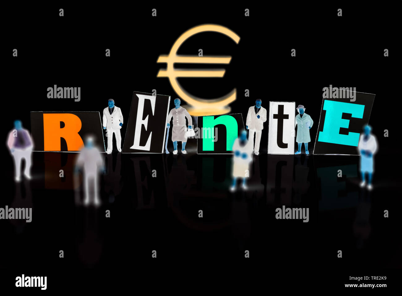 figures with Euro sign and the word Rente, retirement provision, Germany Stock Photo