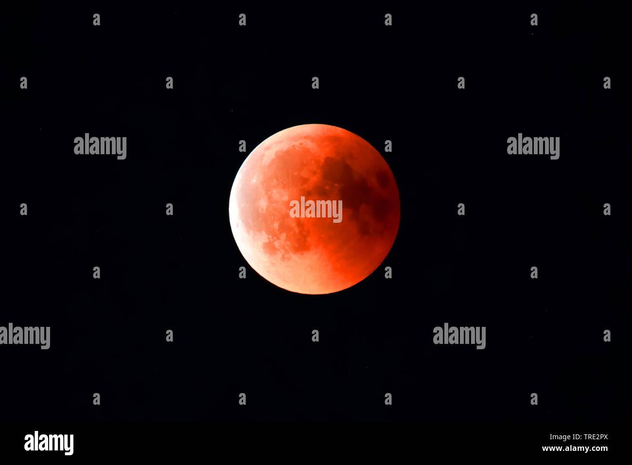 Totale Mondfinsternis am 27.07.2018 in Hamburg, Blutmond, Deutschland, Hamburg | moon eclipse in Hamburg at 27.07.2018, Germany, Hamburg | BLWS515666. - Stock Image