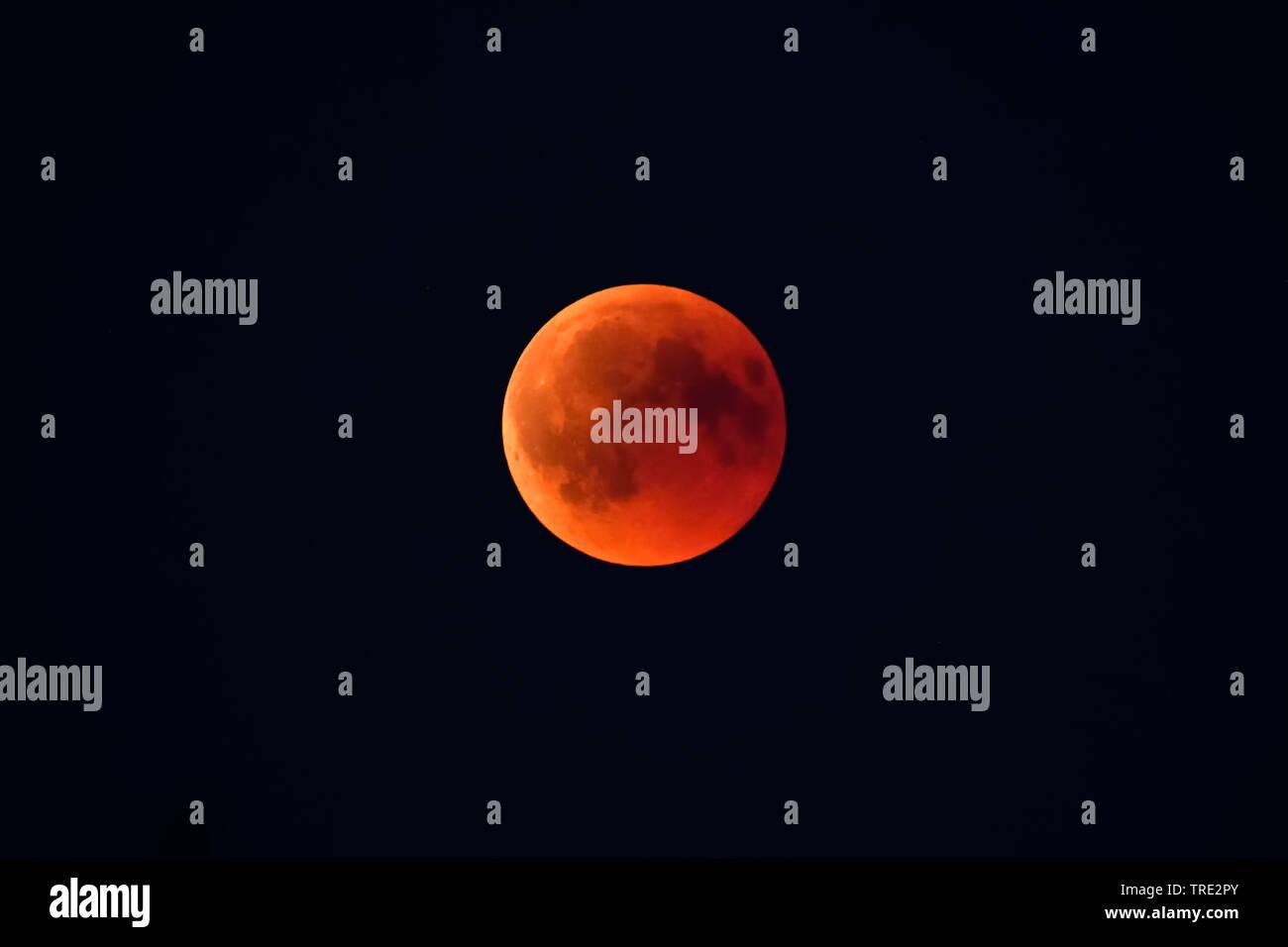 Totale Mondfinsternis am 27.07.2018 in Hamburg, Blutmond, Deutschland, Hamburg | moon eclipse in Hamburg at 27.07.2018, Germany, Hamburg | BLWS515664. - Stock Image